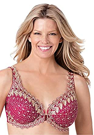 Amoureuse Women's Plus Size Embroidered Front Hook Underwire Bra Berry Pink,38