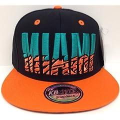 Miami Black & Orange Elephant Print Underbill Snapback Hat Cap by KB Ethos