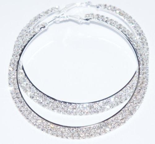 Dazzling Silver Tone 2 Row Crystals Rhinestones Hoop Earrings 50mm in Width