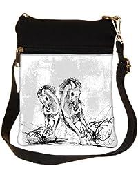 Snoogg Sketch Of Horses Running Cross Body Tote Bag / Shoulder Sling Carry Bag