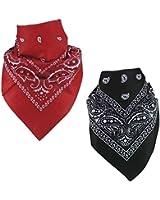 PAISLEY BANDANA foulard duo 1 x noir 1 x rouge