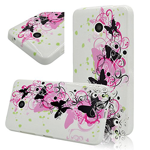 Seedan Black Butterfly Painting Gel Case For Nokia Lumia 630 / 635 Rubberized Tpu Soft Flexible Back Cover Skin