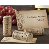"""""""Maison du Vin"""" Wine Cork Place Card/Photo Holder with Grape-Themed Place Cards (Set of 48) - Baby Shower Gifts & Wedding Favors"""