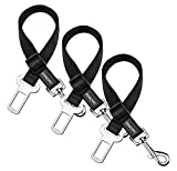 OMorc Dog Seat Belt, [3 Pack] Dog Harness Pet Car Vehicle Seatbelt Pet Safety Leash Leads for Dogs/Cats, Nylon Fabric Material, 19-27 Inch Adjustable - Black