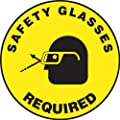 "Accuform Signs MFS208 Slip-Gard Adhesive Vinyl  Round Floor Sign, Legend ""SAFETY GLASSES REQUIRED/SE REQUIEREN ANTEOJOS DE SEGURIDAD"" with Graphic, 17"" Diameter, Black on Yellow"