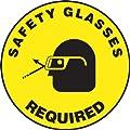 "Accuform Signs MFS208 Slip-Gard Adhesive Vinyl  Round Floor Sign, Legend ""SAFETY GLASSES REQUIRED/SE REQUIEREN ANTEOJOS DE SEGURIDAD"" with Graphic, 17"" Diameter, Black on Yellow"