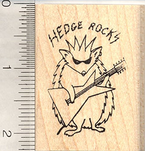 Electric Guitar Hedgehog Rubber Stamp, Music, Rock Band
