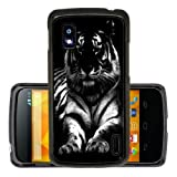 Black n White Tiger 289 case cover for Google Nexus 4 + Screen Protector