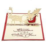Starry 3D メッセージカード グリーティングカード ポップアップ カード クリスマス トナカイ ソリ ★カードを入れる封筒付★ (A)