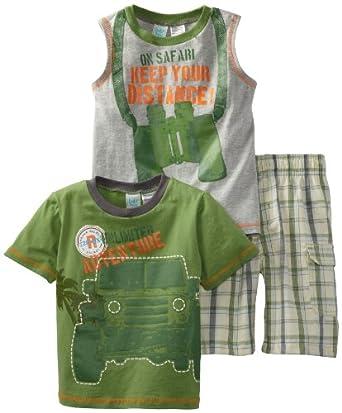 (2.4折)Baby Togs Boys 2-7 S/S Tee Set男童衬衫 背心 短裤三件套$9.94