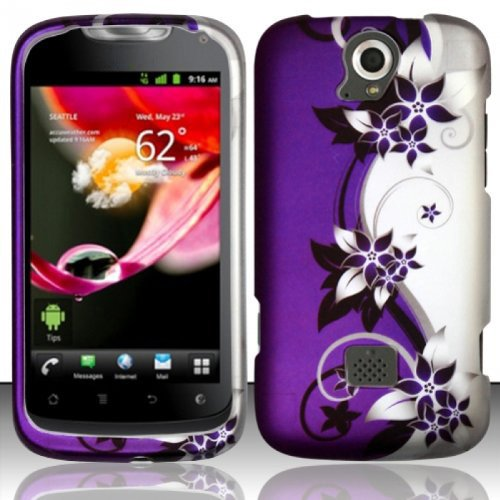 SODIAL(R) Gummierte Huelle fuer Huawei myTouch Q U8730 (T-Mobile) - Lila/silberne Vines