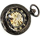 kd51 機械式,手巻き 両面スケルトン アンティーク調 アラベスク ローマ数字 ブラック×ゴールド 懐中時計 (bl)