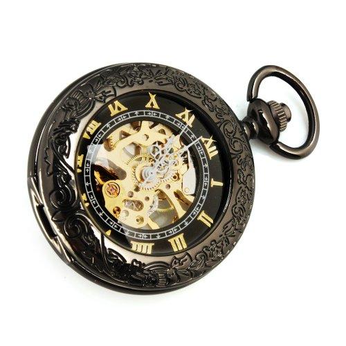 Yesurprise New Luxury Steampunk Men Roman Leather Swiss Date Skeleton AUTO-Mechanical Wrist Watch for Birthday Party Gift Trendy #1