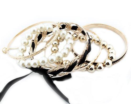 BONAMART ® Set Of Korean Romatic Design Multilayer Braided Bow Faux Pearl Bead Bracelet Bangle Fashion Jewelry shambhala one diamond rhinestone bead ball nylon braided bracelet