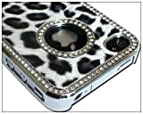 Luxury Unique Best Leopard Czech Rhinestone Case Cover for Apple Iphone 4 4g Crystal