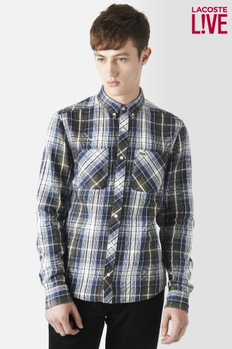 L!VE Long Sleeve Button Down Twill Plaid Woven Shirt