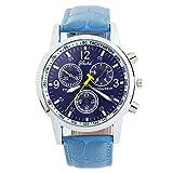 5 色 メンズ 薄型 腕 時計 レザー ベルト ビジネス ウォッチ シンプル スーツ 軽量 (スカイブルー)