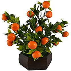 Thefancymart Artificial Bonzai fruit tree Orange (size 10 inchs/ 25 cms) with Wood Hexagun pot-0227-882