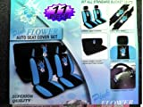 51xJ IedyYL. SL160  11  Piece Auto Interior Gift Set   2 Hawaii Aloha Blue Front Low Back Bucket Seat Covers, 2 Hawaii Aloha Blue Head Rest Covers, 1 Hawaii Aloha Blue Steering Wheel Cover, and 2 Hawaii Aloha Blue Shoulder Harness Pressure Relief Covers