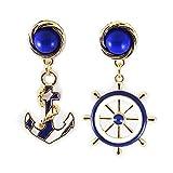 Fashion Womens Elegant Alloy Navy Anchor Helm Style Long Dangle Pendant Earrings