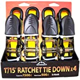 "Everest S1043 Yellow 1"" x 15' Standard Ratchet Tie Down, (Pack of 4)"
