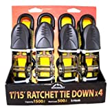 "Everest S1043 Yellow 1"" x 15 Standard Ratchet Tie Down, (Pack of 4)"