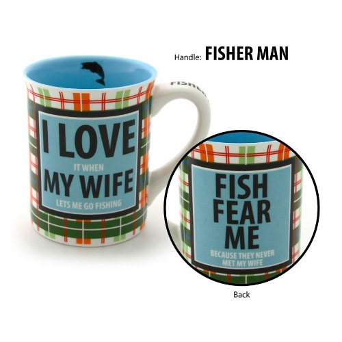 Enesco Our Name Is Mud By Lorrie Veasey Fish Fear Me Mug, 16-Ounce