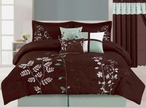 Fancy Collection 7Pc Luxury Brown Blue Floral Comforter Set Bed-In-A-Bag Queen Size Bedding front-924945