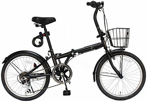 ジェフリーズ 折りたたみ自転車 20インチ AMADEUS マットブラック シマノ6段変速 前後泥除け/カゴ/LEDライト/ワイヤーロック標準装備 JP-8590