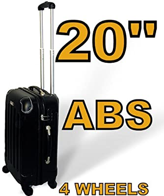 "20"" Black Abs Hard Plastic Airplane Cabin Plane Carry On Luggage Suitcase Hand Travel Bag by GUARANTEED4LESS"