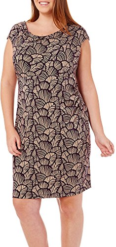 Connected Apparel Plus Drape Neck Print Dress 24W Khaki