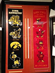 Iowa Hawkeyes & Iowa State Heritage Banners With Logos- Framed Awesome-House Divided
