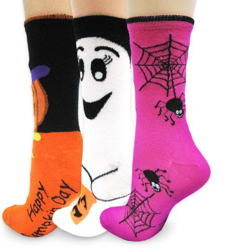 Set of 3 Women's Halloween Socks. Spiders, Pumpkin, Ghost