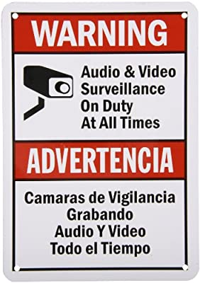 "SmartSign Security Sign, Legend ""Audio & Video Surveillance on Duty at All Times"", Bilingual Sign with Graphic, Black/Red on White"