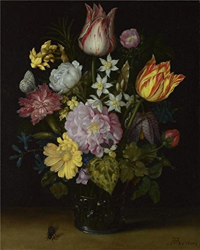 Oil Painting 'Ambrosius Bosschaert The Elder - Flowers In A Glass Vase,1614' Printing On Perfect Effect Canvas , 30x38 Inch / 76x95 Cm ,the Best Powder Room Decor And Home Artwork And Gifts Is This Reproductions Art Decorative Prints On Canvas