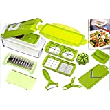 Advance Vegetable Fruit Multi Cutter And Chopper, Green White, 9 Pieces