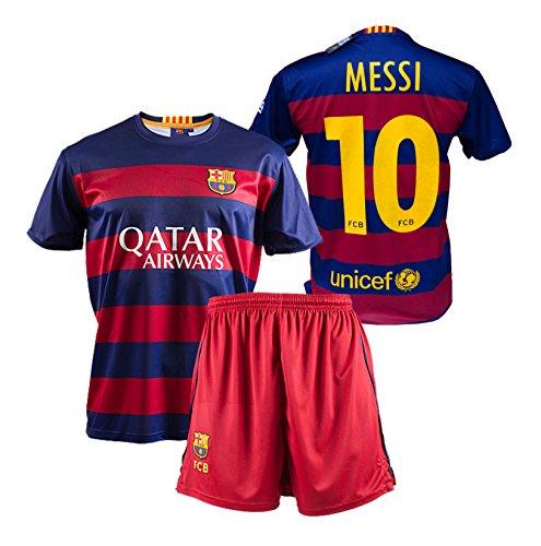FC Barcelona - Completo da calcio per bambino, replica ufficiale 1a squadra del FC Barcelona 2015-2016, maglia di Messi
