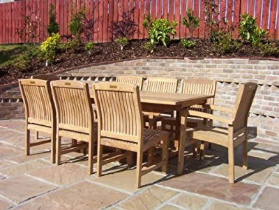 Henley 8 Seater Garden Set - Solid Teak 1.9m / 6.2ft Rectangular Pedestal Table with Fixed Armchairs and Chairs