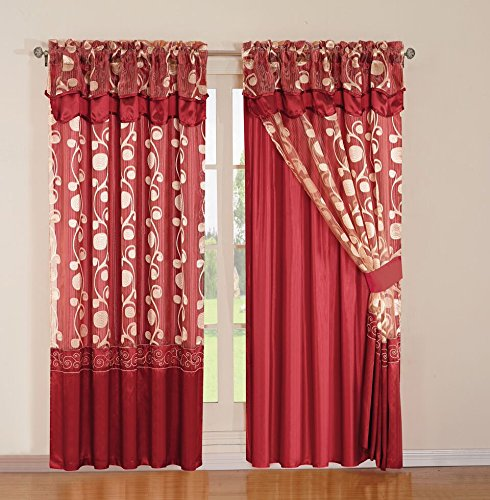 Sunrise Jacquard Curtain Set 2 Panel Drapes With Backing & Valance Window Treatment Drapery Blackout, Aviv, Burgundy (Toile Kitchen Curtains compare prices)