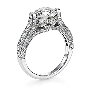 Diamond Engagement Ring 2 1/2 ct, E Color, SI2 Clarity, GIA Certified, Round Cut, in 14K Gold / White