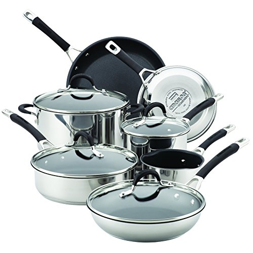 Circulon 78003 11 Piece Momentum Nonstick Cookware Set, Stainless Steel