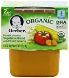 Gerber Organic 2nd Foods, Farmer?s Market Vegetable Blend with Mixed Grains, 2 Count, 3.5 Ounce (Pack of 8)