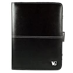 Black Executive VG Dauphine Leather Folio Case Cover (Size 7.5) for Polaroid PMID705BK with WiFi 7