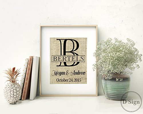 Personalized Burlap Print Monogram Family Name Sign Wedding Established Date 8x10, Burlap Wall Decor, Farm Home Sign, Country Chic Wedding Gift