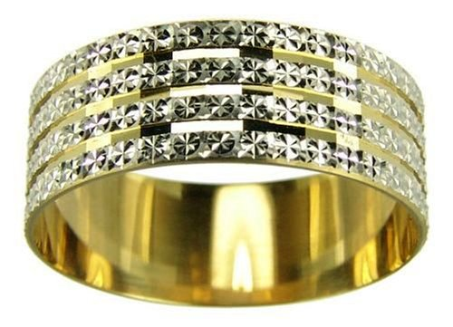Wedding Ring, 9 Carat Two Colour Gold Light Flat Diamond Cut, 7mm Band Width