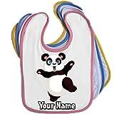 Cartoon Panda Personalised Baby Bib Blue Pink Yellow or White