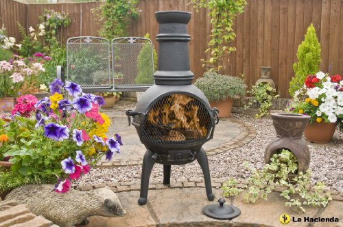 BLACK 95CM HIGH CAST IRON CHIMINEA CHIMENEA CHIMNEA WITH BBQ GRILL
