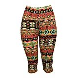 Colorful Aztec Print Capri Leggings - One Size