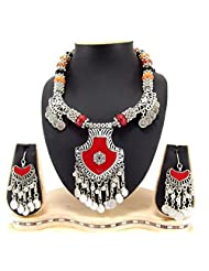 9blings Navratri Special Silver Oxized And Silver Coin Multi Beads Long Necklace Silver Necklace Set Rn76