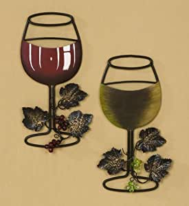 Wall metal wine art red wine white wine glass set of 2 for Bar decor amazon